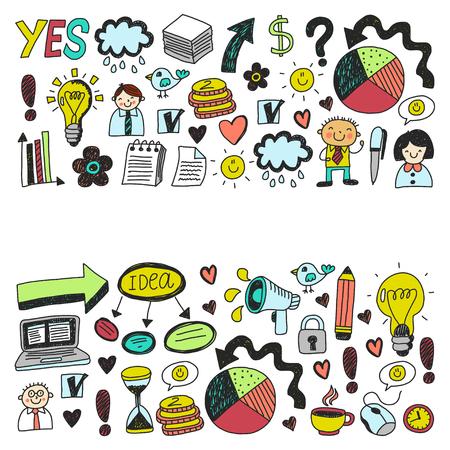 Business doodles hand-drawn sketch set Standard-Bild - 114801454