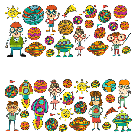 Space geek vector pattern. Kids, children students study astronomy and explore the cosmos. Nerd and spaceships, rocket, planets, castle. Very clever scientist people and cosmos