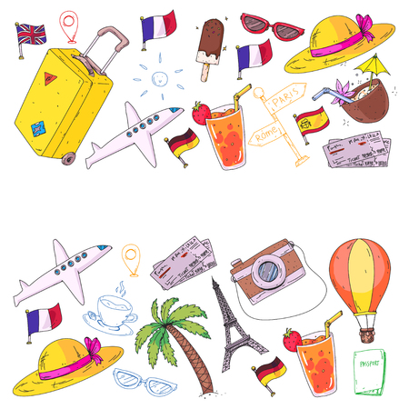 Vector pattern with travel icons. Get ready for adventures and travel. Great vacation, holidays. Hot air balloon, suitcase, airplane, signpost Illustration