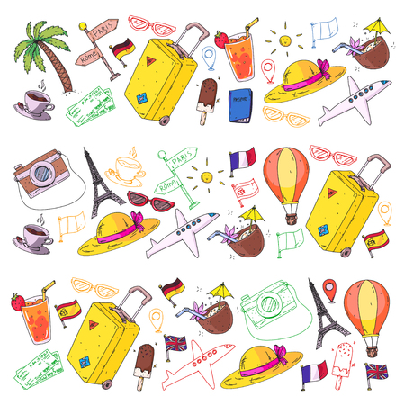 Vector pattern with travel icons. Get ready for adventures and travel. Great vacation, holidays. Hot air balloon, suitcase, airplane, signpost Ilustracja