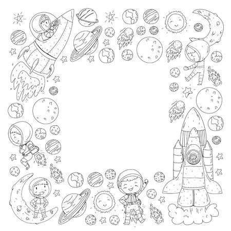 Espacio para niños. Página para colorear, libro. Niños y exploración del cosmos. Aventuras, planetas, estrellas. Tierra y Luna. Cohete, lanzadera, sol. Ilustración de vector