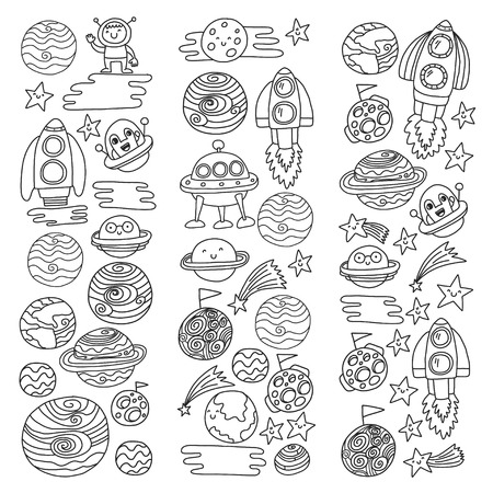 Vector doodle pattern with space icons. Children, kindergarten illustration. Kids drawing style