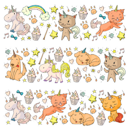 Vector unicorns. Caticorn. Cat, dog, pony with horn and rainbow. Fantasty vector icons. Cute kindergarten pattern for little children. Princess image fairy tale 向量圖像