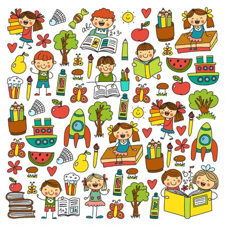 Schule, Kindergarten Jungen und Mädchen, die Bücher lesen. Phantasie