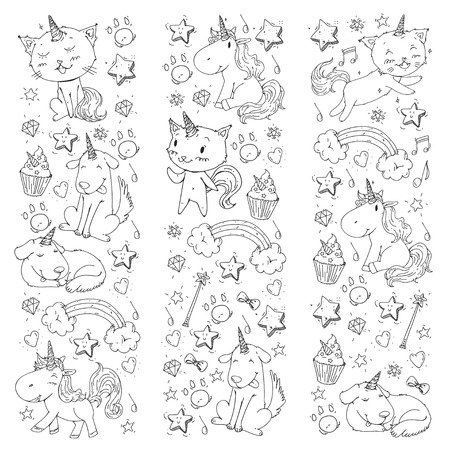 Unicorn. Cats, dog, horse, pony. Coloring page for children. Kindergarten background for banners clothing posters