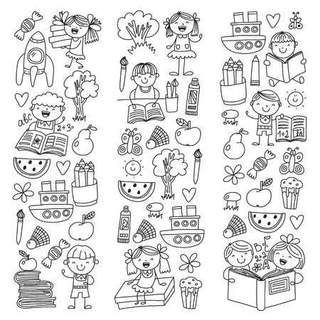 School, kindergarten boys and girls reading books. Imagination Banco de Imagens - 114757107