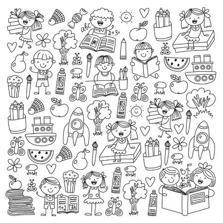 School, kindergarten boys and girls reading books. Imagination Banco de Imagens - 114757113