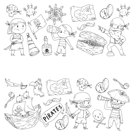 Coloring book with pirates. Pirate sea party background for children, little kids. Travel and adventure.