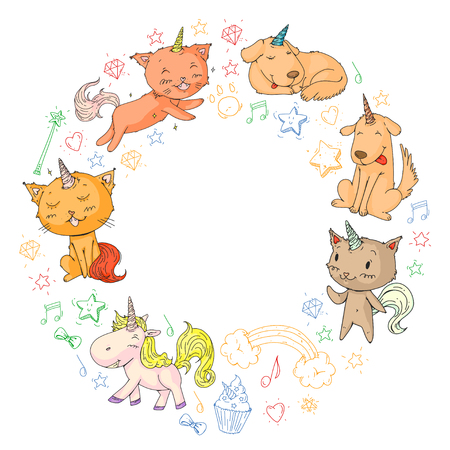 Vector unicorns. Caticorn. Cat, dog, pony with horn and rainbow. Fantasty vector icons. Cute kindergarten pattern for little children. Princess image fairy tale Illustration