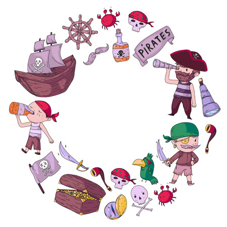 Pirate party for little children. Kindergarten background. Sea and ocean adventures. Ship and pirates, treasure islands. Stock Illustratie