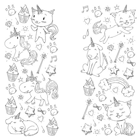 Unicorn. Cats, dog, horse, pony. Coloring page for children. Kindergarten background for banners clothing posters 写真素材 - 114757123