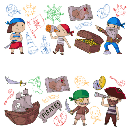 Pirate party for little children. Kindergarten background. Sea and ocean adventures. Ship and pirates, treasure islands. Stock Illustratie