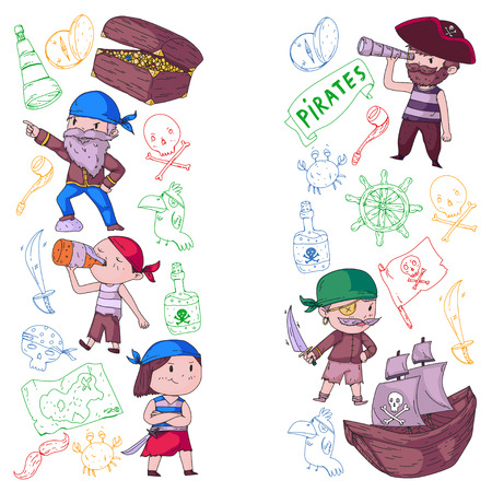 Pirate party for little children. Kindergarten background. Sea and ocean adventures. Ship and pirates, treasure islands. Illustration