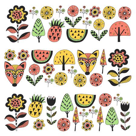 Scandinavian pattern for kindergarten, nursery, children room. Ornament animals watermelon Foto de archivo - 114757146