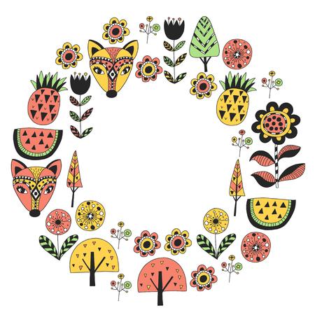 Scandinavian pattern for kindergarten, nursery, children room. Ornament animals watermelon Foto de archivo - 114757148