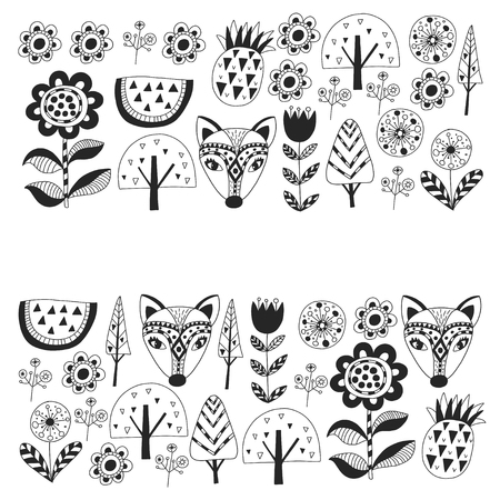Scandinavian pattern for kindergarten, nursery, children room. Ornament animals watermelon Foto de archivo - 114757153