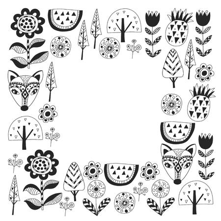 Scandinavian pattern for kindergarten, nursery, children room. Ornament animals watermelon Foto de archivo - 114757158