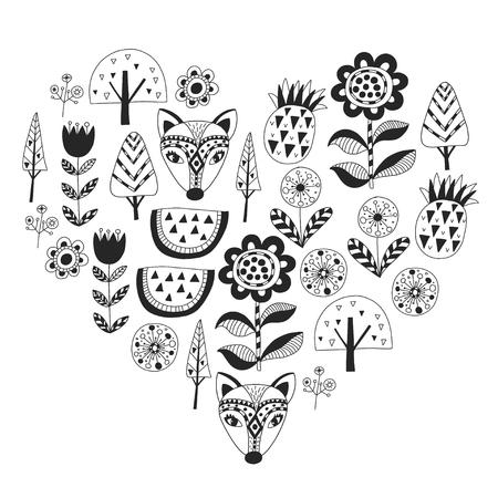 Scandinavian pattern for kindergarten, nursery, children room. Ornament animals watermelon Stock Illustratie