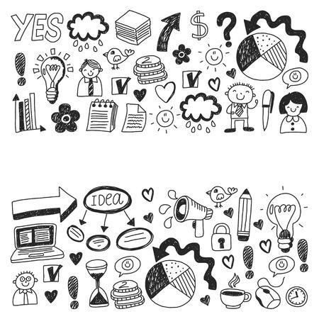 Business doodles. Social media icons. Vector background pattern Standard-Bild - 114757162