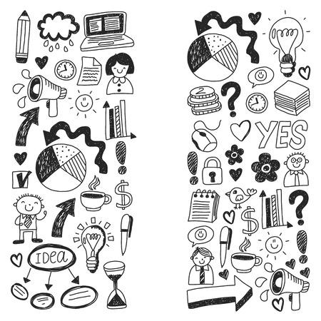 Business doodles. Social media icons. Vector background pattern Standard-Bild - 114757163