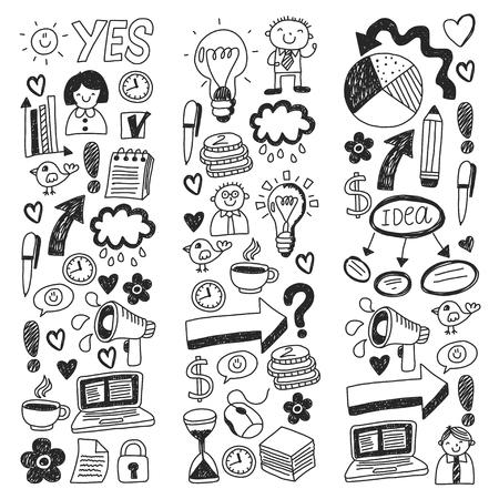 Business doodles. Social media icons. Vector background pattern Standard-Bild - 114757165
