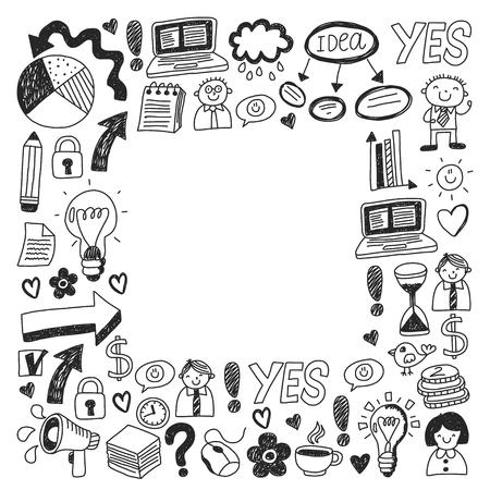 Business doodles. Social media icons. Vector background pattern Standard-Bild - 114757168