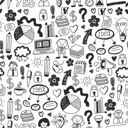 Business doodles. Social media icons. Vector background pattern Standard-Bild - 114757170