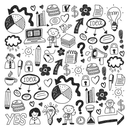 Business doodles. Social media icons. Vector background pattern Standard-Bild - 114757171
