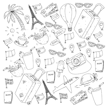 Vector pattern with travel icons. Get ready for adventures and travel. Great vacation, holidays. Hot air balloon, suitcase, airplane Ilustracja