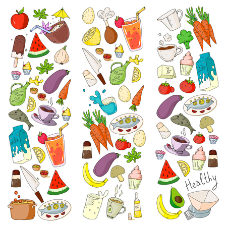 Pattern with healthy food. Cooking class, menu elements for restaurant, cafe. Milk, ice cream, fish, juice, avocado turkey carrot garlic coffee tea