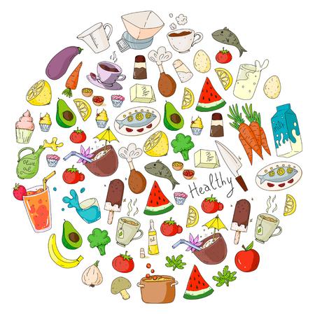 Pattern with healthy food. Cooking class, menu elements for restaurant, cafe. Milk, ice cream, fish, juice, avocado turkey carrot garlic coffee tea Foto de archivo - 114757189