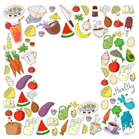 Pattern with healthy food. Cooking class, menu elements for restaurant, cafe. Milk, ice cream, fish, juice, avocado turkey carrot garlic coffee tea