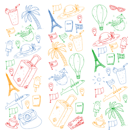 Vector pattern with travel icons. Get ready for adventures and travel. Great vacation, holidays. Hot air balloon, suitcase, airplanes Ilustrace