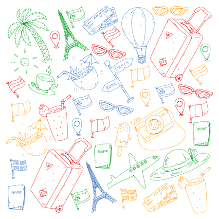 Vector pattern with travel icons. Get ready for adventures and travel. Great vacation, holidays. Hot air balloon, suitcase, airplanes Ilustracja