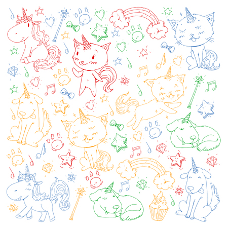 Vector unicorns. Caticorn. Cat, dog, pony with horn and rainbow. Fantasty vector icons. Cute kindergarten pattern for little children. Princess fairy tales.