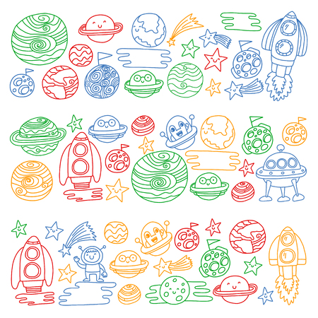 Vector doodle pattern with space icons. Children, kindergarten illustration. Kids drawing style image