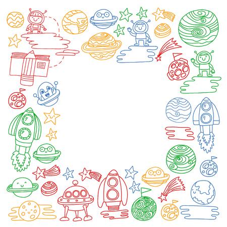 공간 아이콘 벡터 낙서 패턴입니다. 어린이, 유치원 그림. 아이 그리기 스타일 이미지