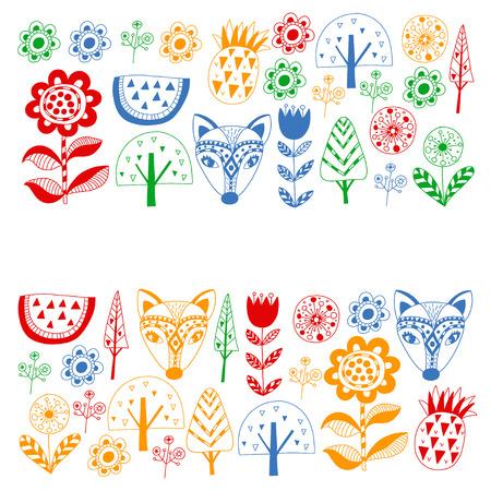 Scandinavian pattern for kindergarten, nursery, children room. Ornament animals watermelon Foto de archivo - 114725272