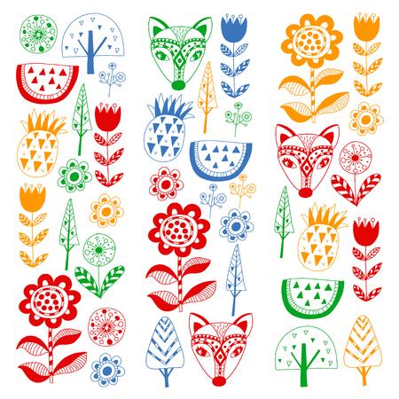 Scandinavian pattern for kindergarten, nursery, children room. Ornament animals watermelon Иллюстрация