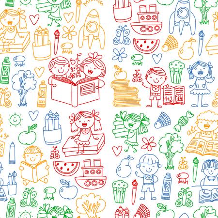 School, kindergarten boys and girls reading books. Imagination
