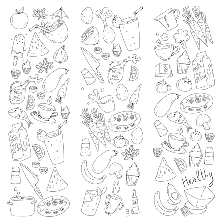Pattern with healthy food. Cooking class, menu elements for restaurant, cafe. Milk, ice cream, fish, juice, avocado turkey carrot garlic coffee tea Archivio Fotografico - 114725305