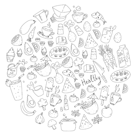 Pattern with healthy food. Cooking class, menu elements for restaurant, cafe. Milk, ice cream, fish, juice, avocado turkey carrot garlic coffee tea Archivio Fotografico - 114725306