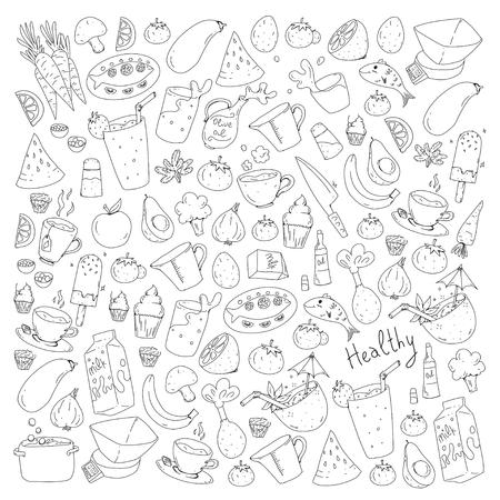 Pattern with healthy food. Cooking class, menu elements for restaurant, cafe. Milk, ice cream, fish, juice, avocado turkey carrot garlic coffee tea Foto de archivo - 114725311