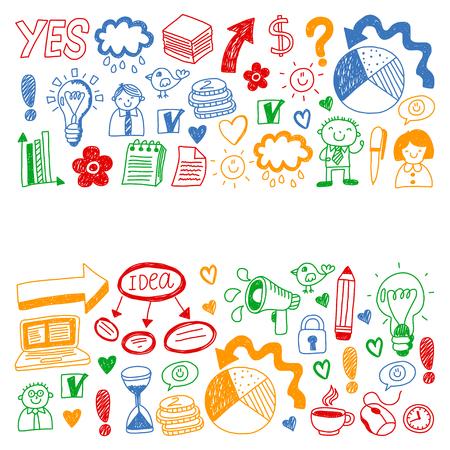 Business doodles. Social media icons. Vector background pattern Standard-Bild - 105384574