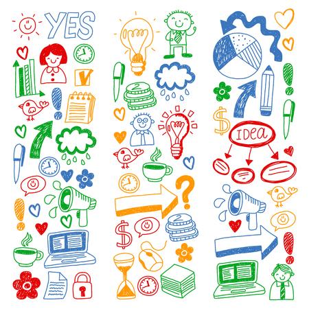 Business doodles. Social media icons. Vector background pattern Standard-Bild - 105384728