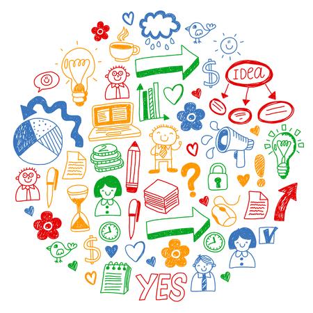 Business doodles. Social media icons. Vector background pattern Standard-Bild - 114725331