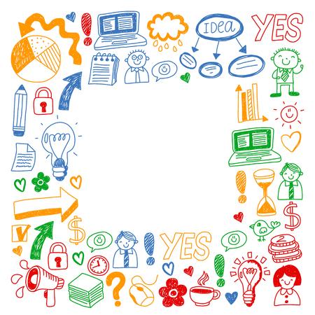 Business doodles. Social media icons. Vector background pattern Standard-Bild - 114725333