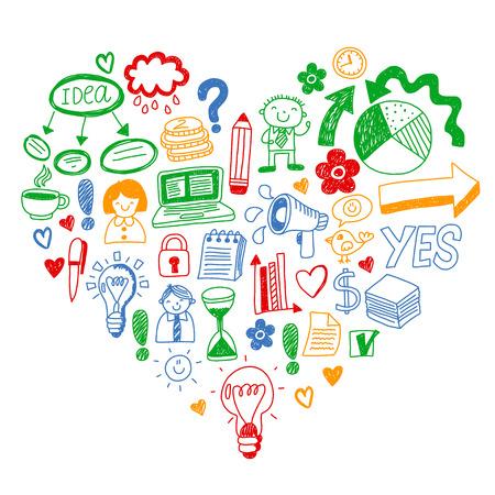Business doodles. Social media icons. Vector background pattern Standard-Bild - 114725334