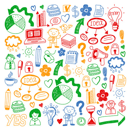 Business doodles. Social media icons. Vector background pattern Standard-Bild - 105384734