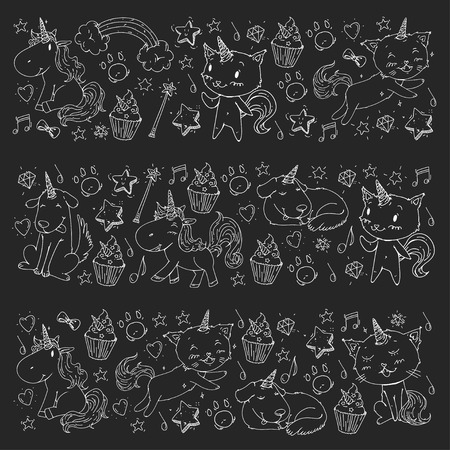 Vector unicorns. Caticorn. Cat, dog, pony with horn and rainbow. Fantasty vector icons. Cute kindergarten pattern for little children. Princess fairy tale